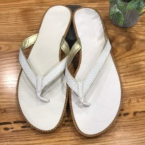 Coach White Leather Sandals 8 1/2